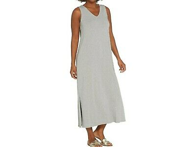 AnyBody Loungewear Regular V-Neck Cozy Knit Maxi Dress Heather Grey Large Size