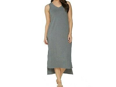 AnyBody Womens Loungewear Cozy Knit Maxi Tank Dress Heather Graphite Medium Size