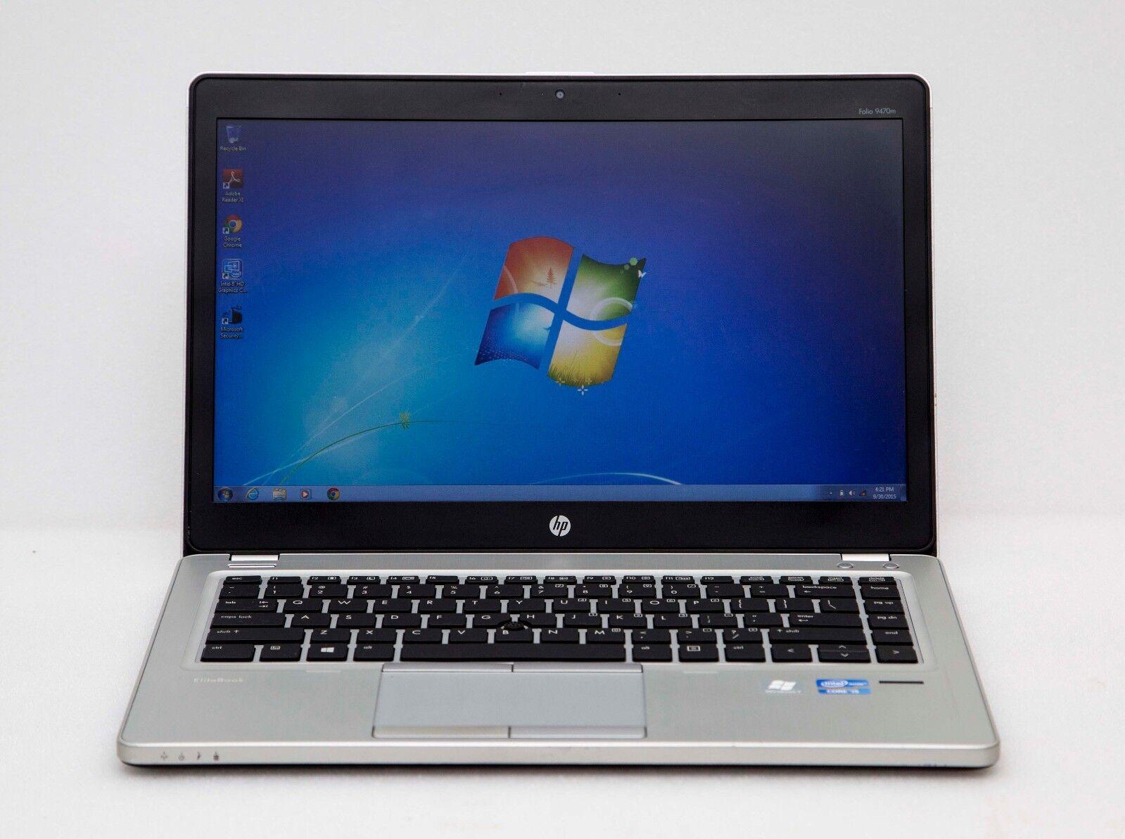 """HP Ultrabook Folio 9470m 14"""" Core i5-3437u 1.9/8/250GB Win7 Webcam Slim Laptop"""