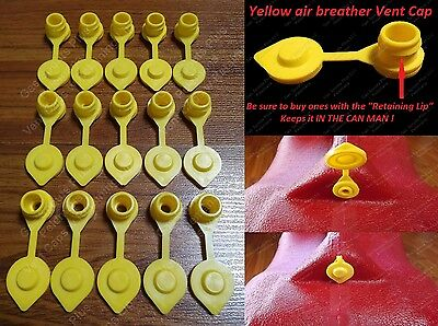 15-pack New Yellow Vent Caps Gas Can Breather Midwest Blitz Wedco Briggs Scepter