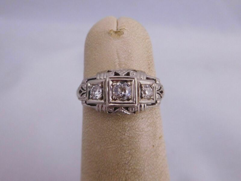 HIGH QUALITY SWEET SUPER ART DECO 18K GOLD MINE CUT DIAMOND STONE FILIGREE RING