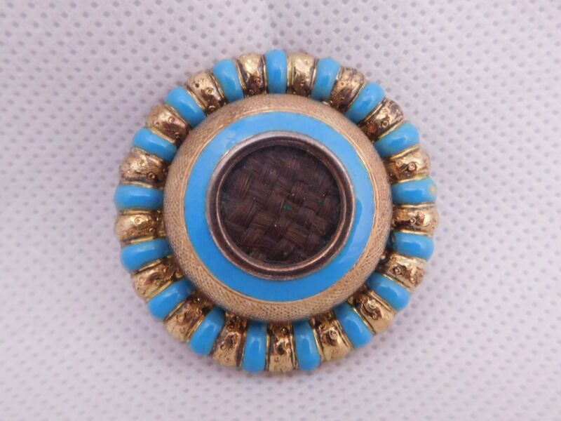 VICTORIAN MOURNING 14K SOLID YELLOW GOLD DOUBLE SIDED HAIR ENAMEL PIN BROOCH