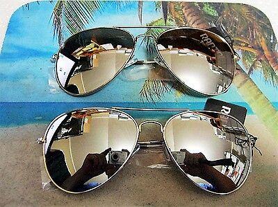 2 PAIR OF LARGE AVIATOR SUNGLASSES SILVER MIRROR LENS SILVER FRAME TOP COP  (Aviator Sunglasses With Mirror Lens)