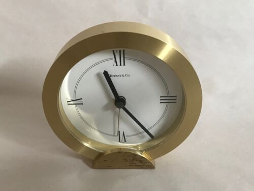 Vintage Tiffany & Co. Swiss  Quartz Brass Desk Clock Or Paper weight