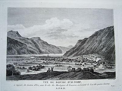 Altdorf Canton Uri Schweiz  Kupferstich Zurlauben 1780 selten!!