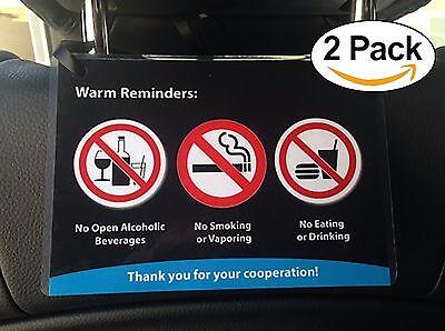 Uber Lyft Headrest Rider Reminder Decal Sign Rideshare Car Display Cards