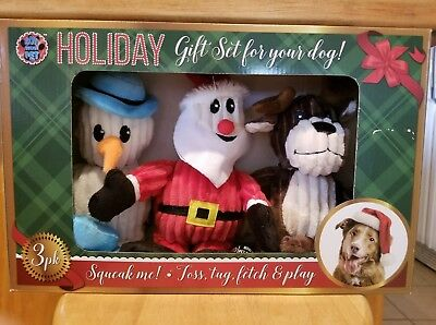 Holiday Gift Set for your Dog, 3 piece Squeaky set, NIB