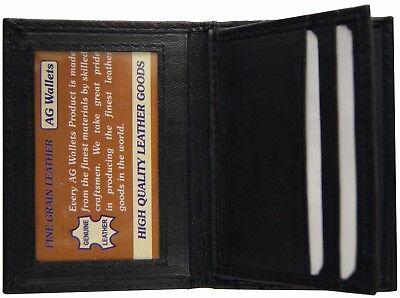 Mens Front Pocket Leather Slim Multi Credit Card Flap Mini Bifold Wallet Black
