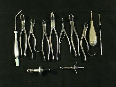 Vintage Dentist Lot 12 Dental Instruments Pliers Syringes Tools Etc.