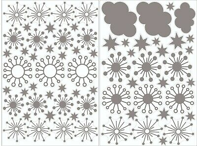Clouds, Stars & Snowflakes Window Clings/Window Stickers Sheet - Snowflake Window Clings