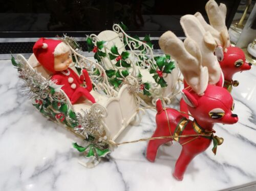 """Lot 2 Vintage WHITE PLASTIC SLEIGH & RED LEATHER REINDEER Holly Bendable Elf 10"""""""