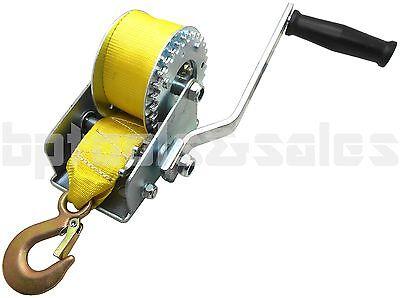 800lbs Hand Winch Hand Crank Strap Gear Winch ATV Boat Trailer Heavy Duty NEW