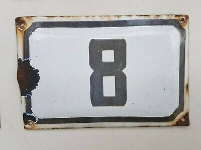 Enamel porcelain street house number 8 house sign # 8 vintage PICK FROM LOT