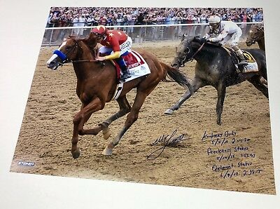 MIKE SMITH Signed Inscribed Belmont Stakes 16 x 20 Photograph STEINER LE 7/18