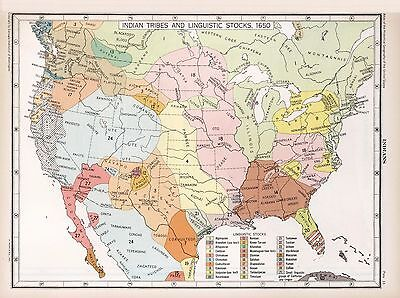 1867 UNITED STATES map Indian Tribes and Linguistic Stocks 1650 POSTER 0702036