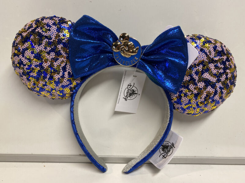 2021 Disney WDW Annual Passholder Minnie Mouse Blue Sequined Ears Headband