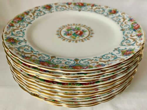 SET OF 10 PRETTY TUSCAN ORLEANS FLORAL SALAD PLATES; SCROLLS; ROSES; MEDALLION