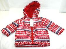 Gymboree Red White Snowflake Winter Hooded Puffer Jacket ...