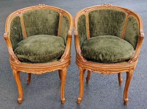 Rare PAIR Antique FRENCH Early 19th C Carved WALNUT Louis XV Bergeres ARM CHAIRS