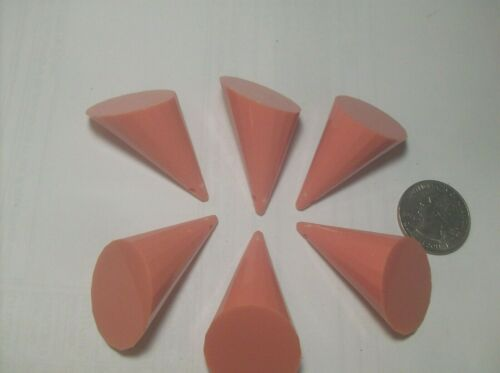 6 SALMON LUCITE CONES---FOR NECKLACE OR PENDANTS----1960,s--NO CHAIN--VINTAGE