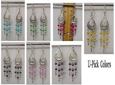 Shiny Glass Pearl Teardrop Dangle Drop Chandelier Connectors Earrings Hook -