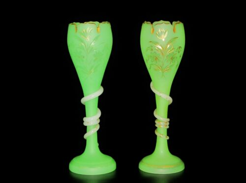 A Pair Of French Victorian Green & White Opaline Glass Gilt & carved Vases.