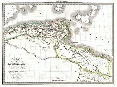 1829 Lapie Historical Map of Empire of Carthage ( Modern Tunisia )