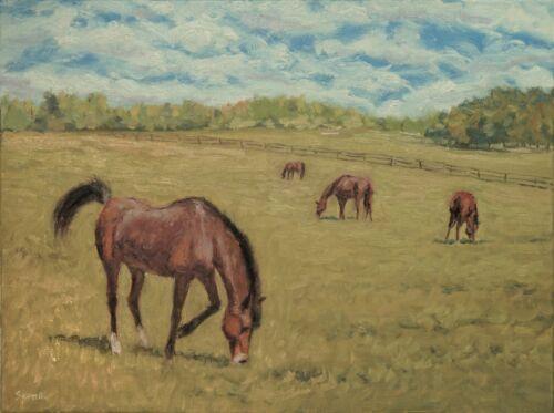 Sean Wu. Landscape, 18x24 original oil on stretched canvas, horses