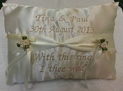 Personalised ring cushion pillow ~ ribbon sash style for your wedding day Gift - Personalized Ribbon For Wedding