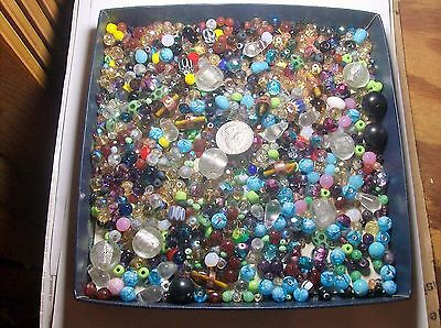 LARGE COLLECTION OF ASSORTED GLASS BEADS-----#130-------VINTAGE