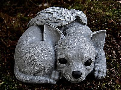 Chihuahua Angel Memorial Statue, Concrete Chihuahua Figure, Cement Headstone