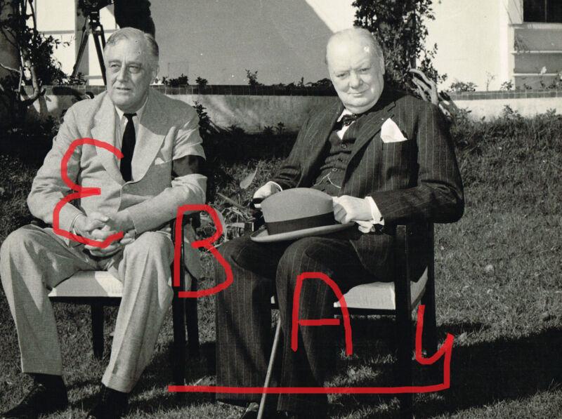 WWII 1943 8X10 PHOTOGRAPH OF ROOSEVELT & CHURCHILL MEET CASABLANCA LOOK