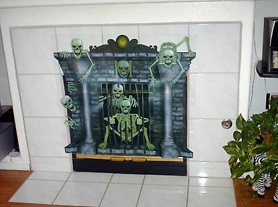 HALLOWEEN Ghost or Skeleton Scary Fireplace - Prop Wall Decor Mural Cover - Halloween Fireplace