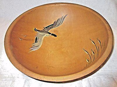 Large Vintage Hand Painted Munsing Wooden Dough Bowl - Ducks & Cattails