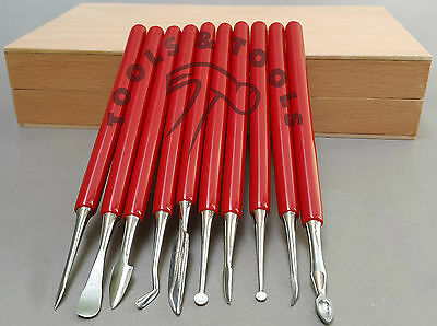 10 PIECE BOX CARVER SET WAX CARVERS CARVING TOOLS METAL CLAY SCULPTING DESIGN