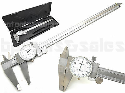 12 Precision Stainless Steel Dial Caliper Shockproof 4 Way Caliper W Case New