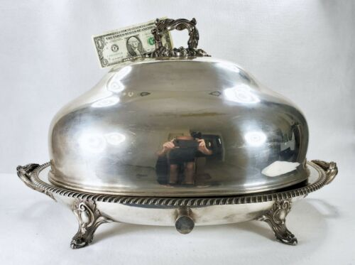 Huge Sheffield A.B. Savory & Sons Silver Plate Meat Dome on Footed Warming Stand