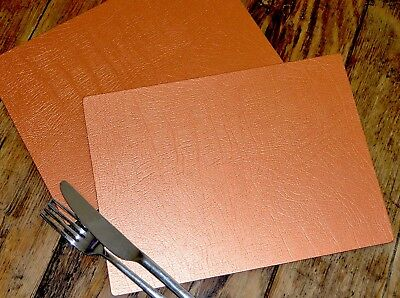 Set of 6 ARTISAN Copper Leatherboard PLACEMATS, UK Made TABLE MATS