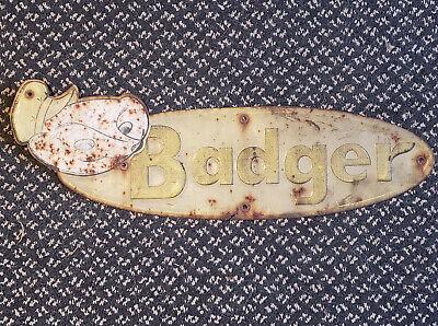 Vintage Rustic Badger Farm Barn Equipment Embossed Sign Metal Tin