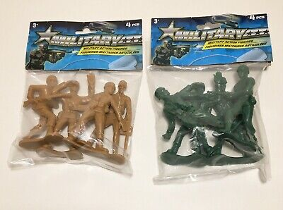 """Lot of 2 Packages Greenbrier Military Action Figures 8 Total Large 4"""" Army Guys"""
