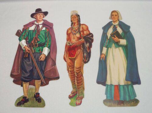 3 VTG Dennison Pilgrim Indian Die Cut Thanksgiving Cardboard LARGE
