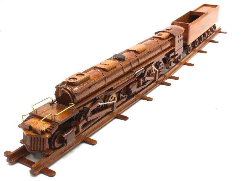 Big Boy Steam Train  Model Natural Mahogany