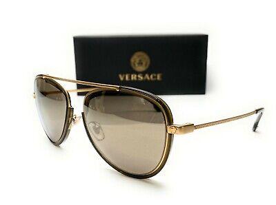 Versace VE2193 1428 5A Tribute Gold Mirror Gold Lens Men Phantos Sunglasses 56mm