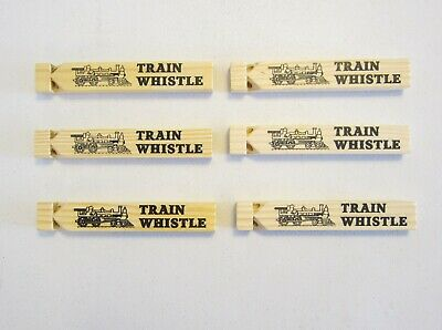 6 NEW WOODEN TOY TRAIN WHISTLES 6.75