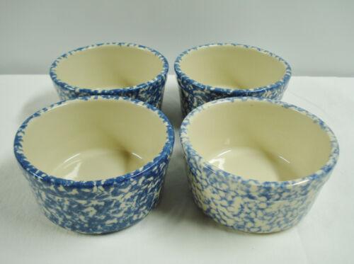 """4 Workshop Gerald Henn Blue Sponge 6"""" Cereal Bowls Ohio Spongeware Bowl Set"""