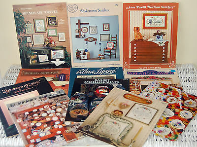 A BAKER'S DOZEN VINTAGE CROSS STITCH LEAFLETS - FROM BASKETS TO WREATHS!