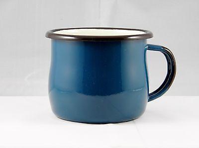 2x Becher Trinkbecher Tasse Kaffeebecher Emaille 0,28l petrol Email a. Polen neu