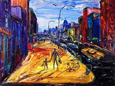 Original Arthur Robins Oil NYC Cityscape Taxis Cars Streets Greenwich Village NR