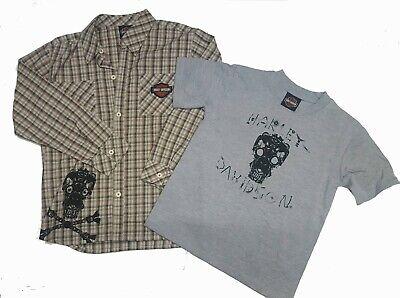 Harley-Davidson Little Boys Kids Plaid Button-Up & Skull T-Shirt Gift -
