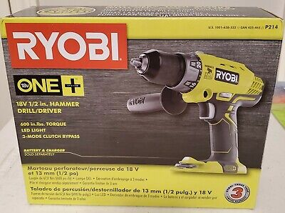 New18-volt One Cordless 12 In. Hammer Drilldriver Tool W Handle P214